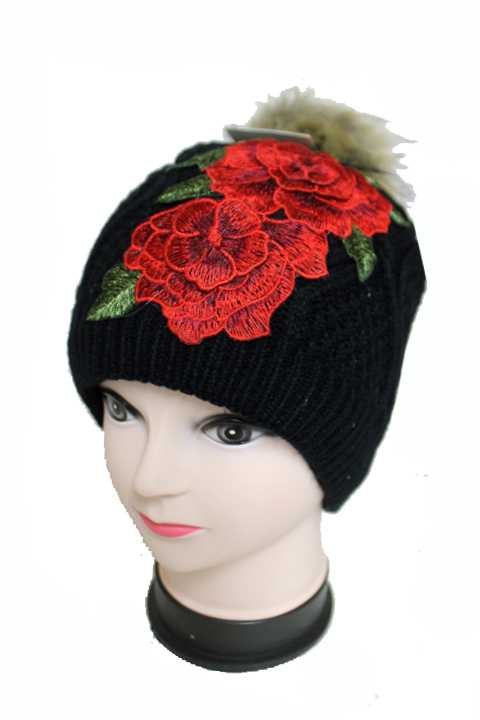 Red Twin Peony Fur Pom Pom Knitted Fur Lined Fashion Beanies