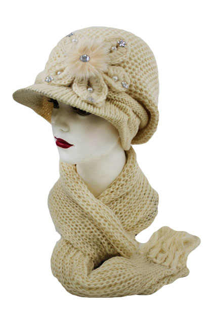 Angora Accent with Bow Visor Two Set Beanies
