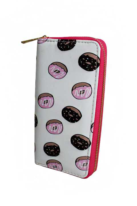 Pastry Print Fashion Wallet with Gold Zipper Closure