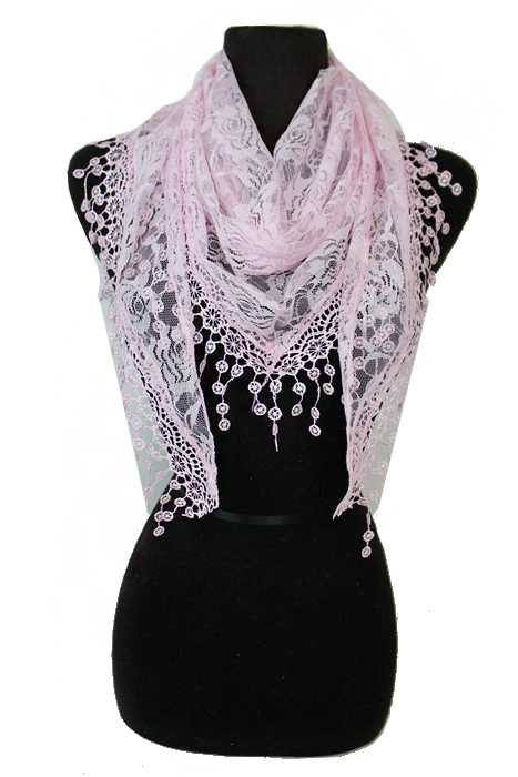 Pretty In Lace Tear Drop Tassel Floral Design Fashion Scarves