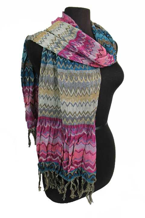 Scrunched Wavy Chevron Printed Boho Vibe Fringed Scarves