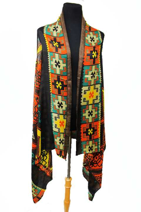 Aztec Design Soft Pashmina feel Distressed Vest Cardigan