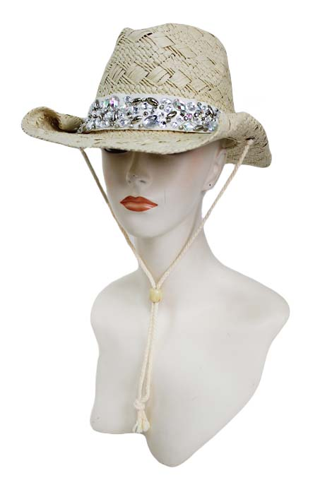 Tear Drop Stone Crystal Clear and AB Color Hand-Made Sewing Crystal Cowgirl Hat