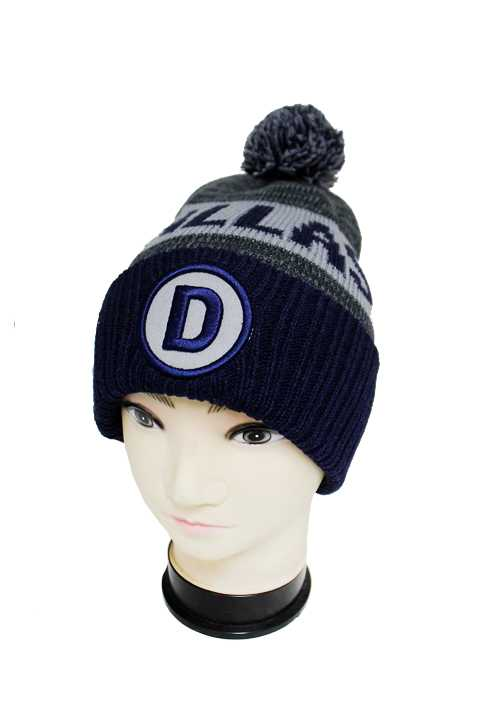 """DALLAS"" Three Tone Knit Long Beanies with Pom Pom"