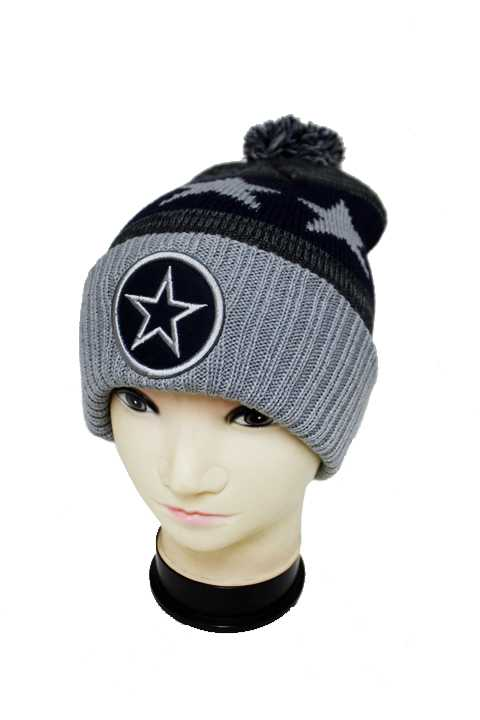 STAR Three Tone Knit Long Beanies with Pom Pom