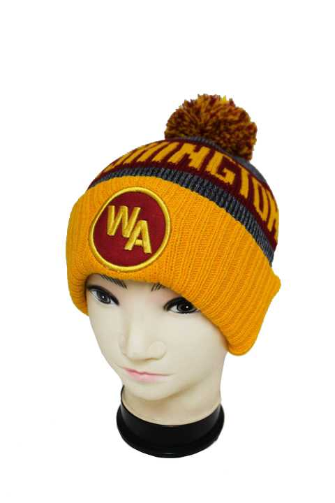 """WASHINGTON"" Three Tone Knit Long Beanies with Pom Pom"