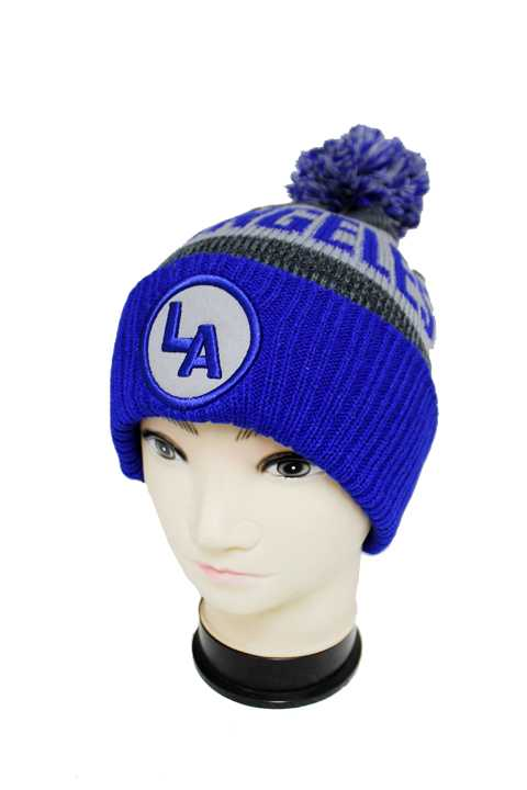 """LOS ANGELES"" Three Tone Knit Long Beanies with Pom Pom"