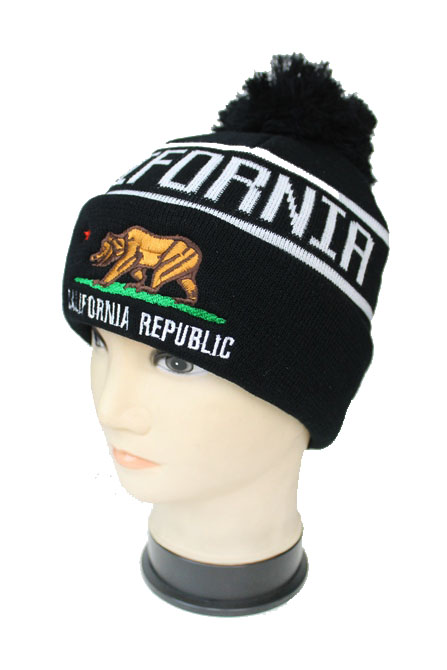 California Republic CALI EMB Design Knitted with Pom Pom Beanies