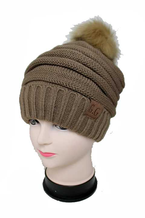 Striped Design Thick Knitted with Faux Fur Pom Pom inside Warm Beanies