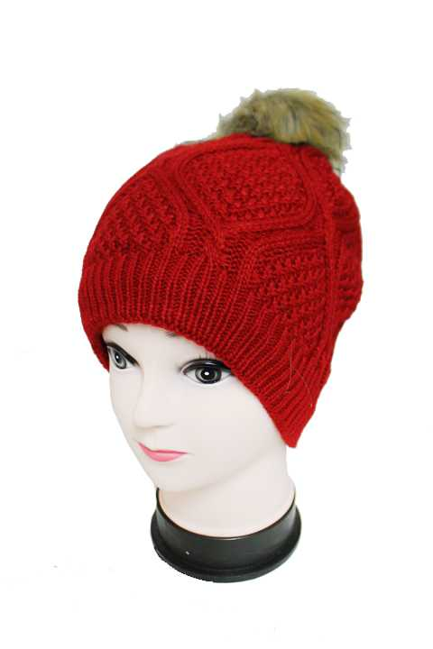 Thick Biconvex Knit Beanie with Pom Pom