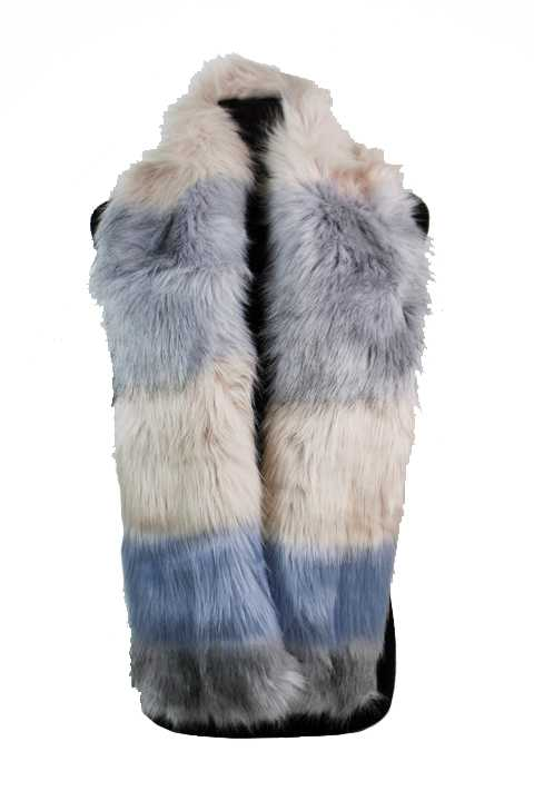 Three Tone Extra Soft Faux Fur Cowl Neck Styled Scarves