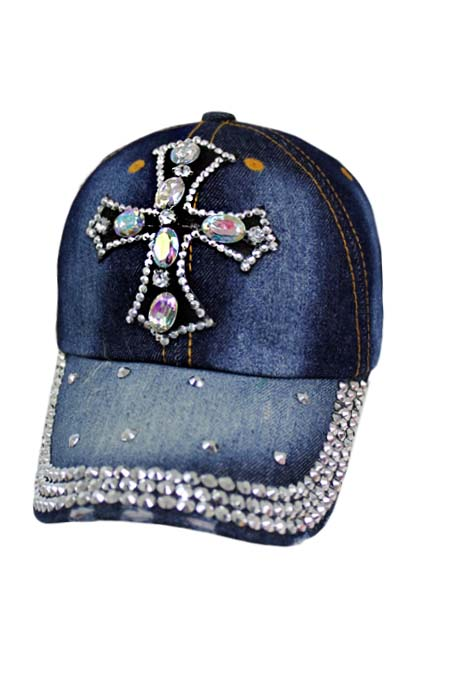 CROSS Crystal Look Bling Bling Cotton Denim Washing Cap