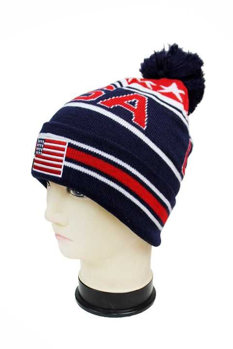 "American Flag ""USA"" Three Tone Knit Long Beanies with Pom Pom"
