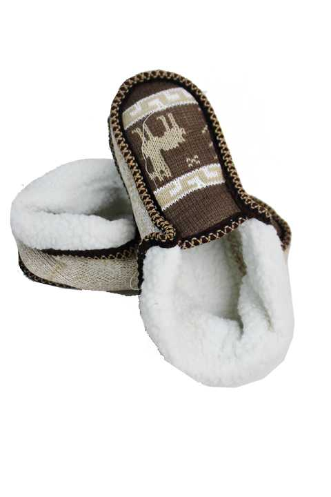 Greek Key Print With Little Deer Goat Fur Trimmed Warm Winter Women Sized Slippers
