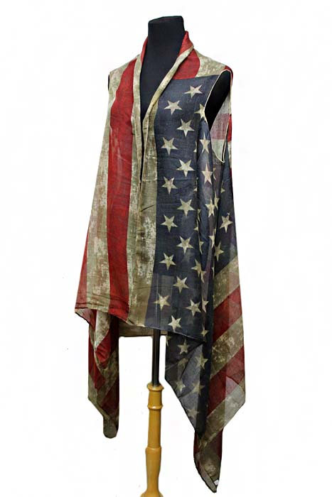American Flag Semi Sheer Sleeveless Cardigan Pashmina Vintage