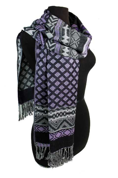Diamond and Aztec Pattern Design Pashmina Made With Double Sided Color Feature