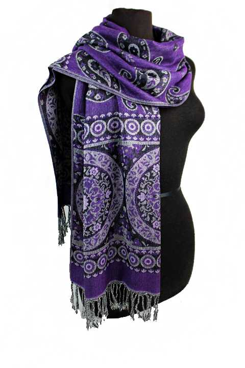 Mandala and paisley  Design Pashmina Made With Double Sided Color Feature