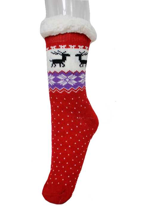 Reindeer and Snowflakes Fur Plush Non Slip Grip Winter Warm Socks