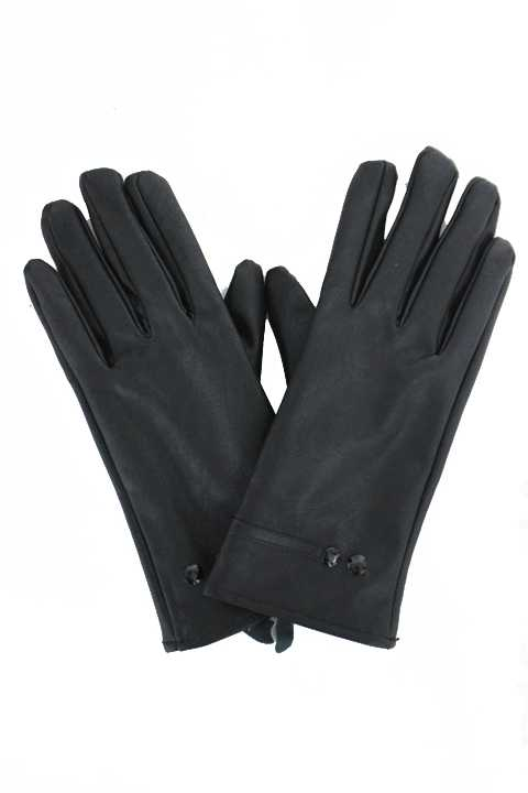 Imitation Leather With Fur Gloves