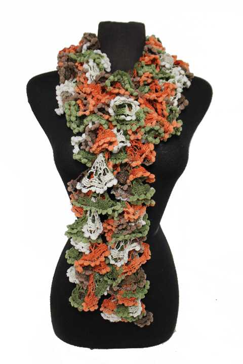 Flower Laced Scrunched Hand Knit Single Wrap Around Scarves