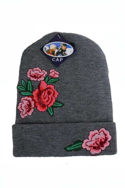 Detailed Vivid Embroidered Rose Long Beanies