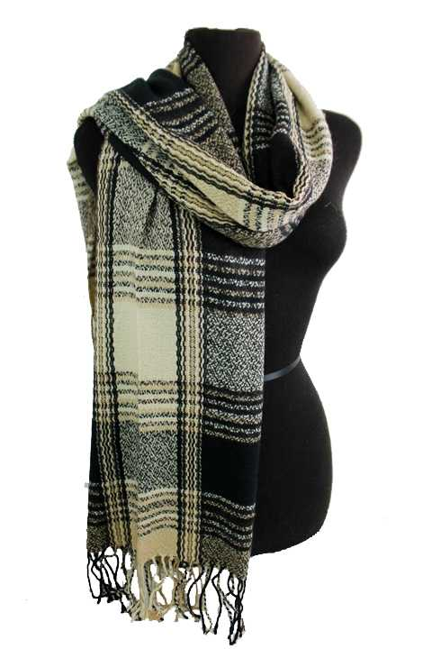 Plaid Patterned Thin Thread Knit Soft Felt Scarf with Fringes