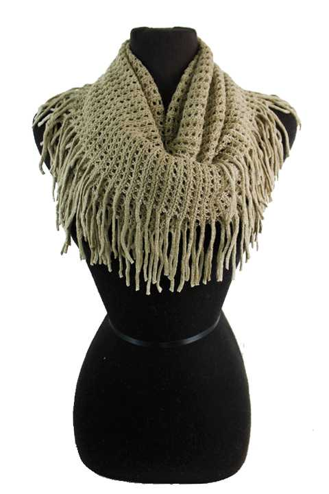 Checkered & Holed Knit Soft Felt Infinity Scarf with Fringes