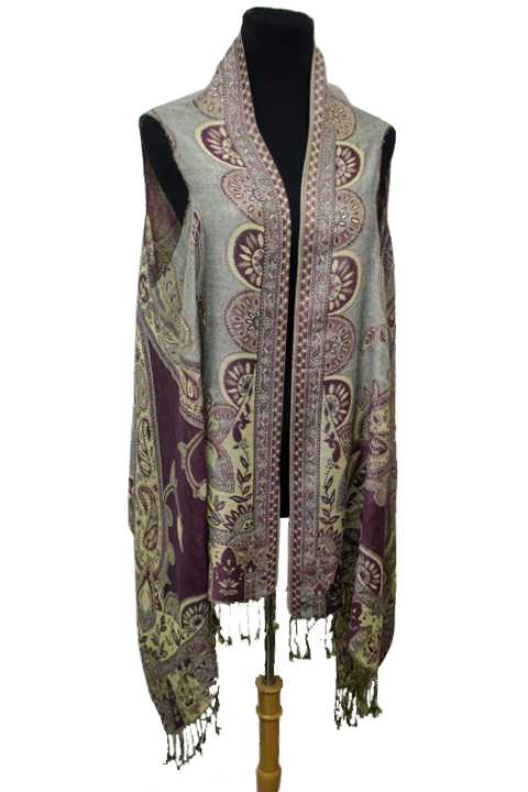 Two Tone Paisley Flower & Leaves Printed Fringed Pashmina Sleeveless Vest