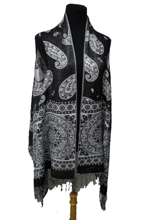 Mandala and paisley Design Pashmina Made With Double Sided Color Feature Sleeveless Vest