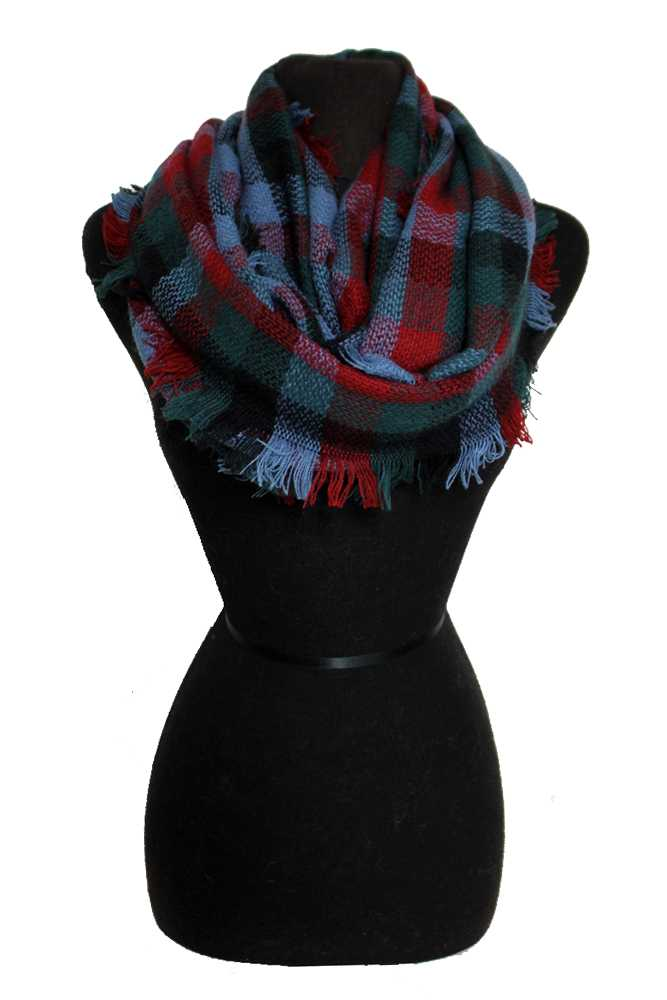 Checkered Patterned & Multicolored Fringed Infinity Scarf