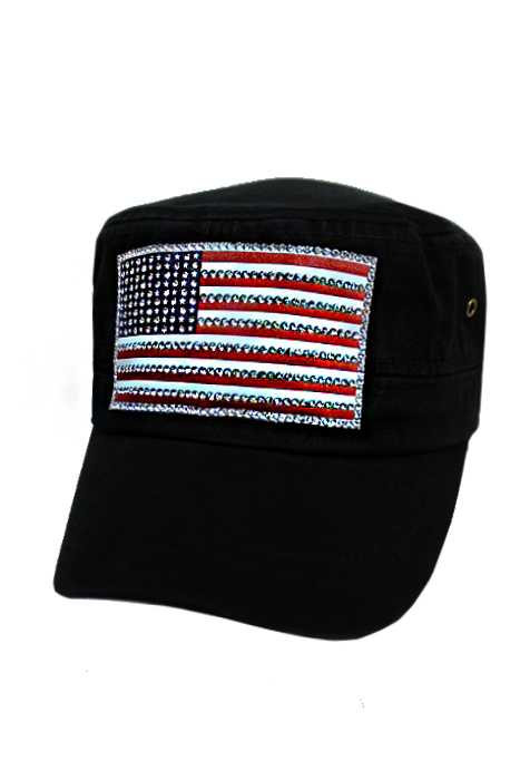 American Flag Silicone Patch with Swarovski Looks Stone Design Cadet Cap