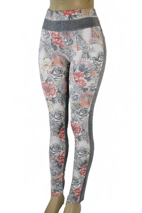 Jean Like Fabric Stretchy Pocket Floral Blossoms And Exotic Animal Print Leggings