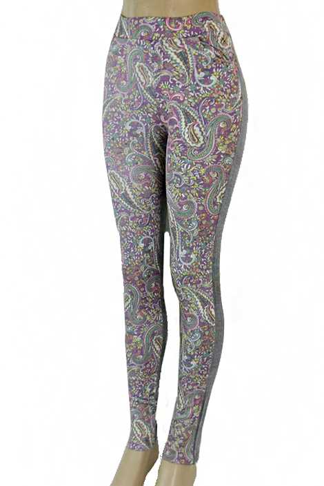 Paisley Printed Pocket Jean Like Fabric Stretchy Print Leggings