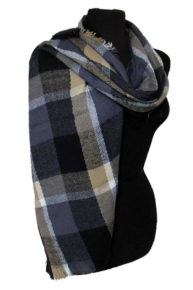 Multicolored & Plaid Patterned Fringed Scarf