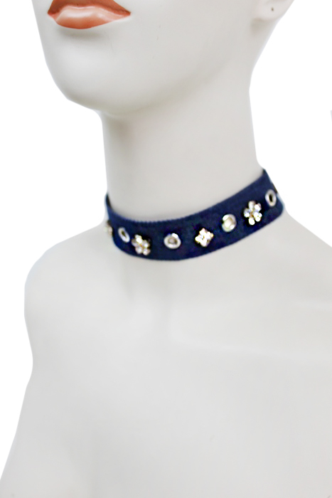 Petal Diamond Stone Stud Denim Wide Choker Fashion Necklace