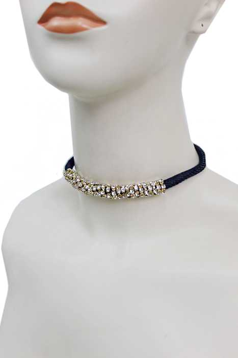Single Rope Centered Gold Bling Emblem Fashion Choker Necklace