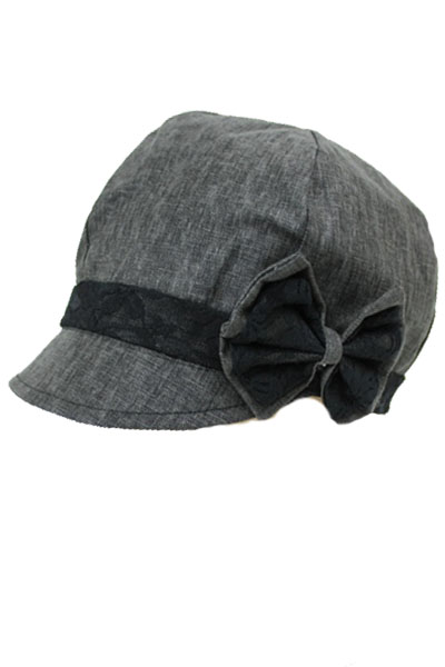 Linen Newsboy Hat with Lace Bow.