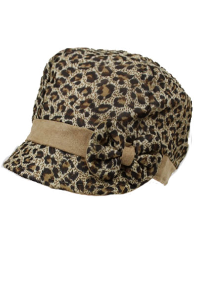 Leopard Pattern News Boy Hat