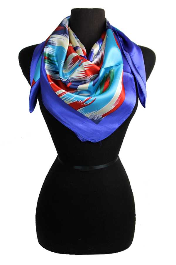 Paint Brush Stroke Patterned Silk Felt Twill Square Scarf