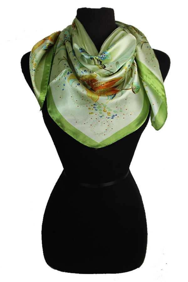 Exotic Flower Patterned Silk Felt Twill Square Scarf