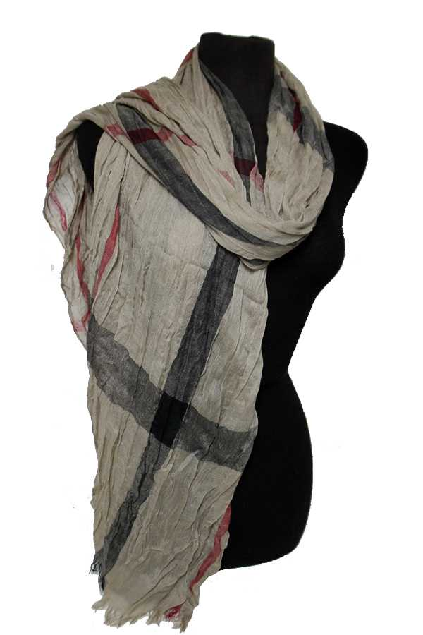Fashion Plaid Distressed Scrunch Oblong Scarves