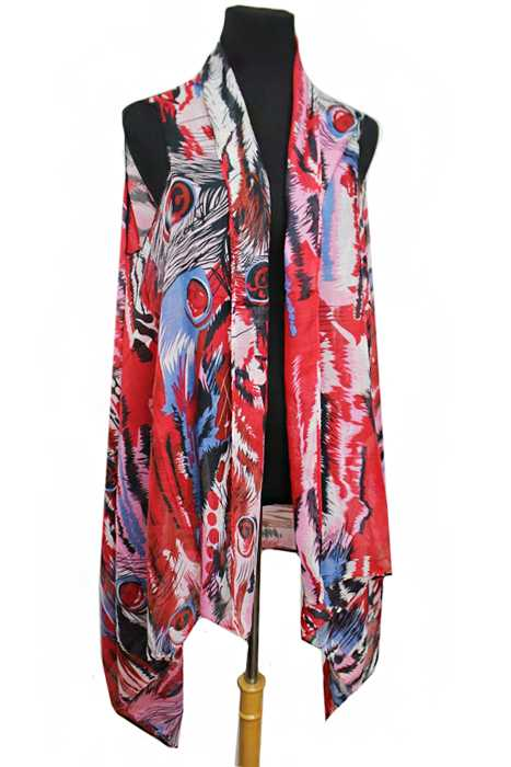 Oversized Abstract Dyed Peacock Feather Printed Softness Kimono Cardigan
