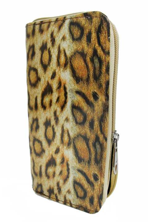 Leopard Patterned Fashion Wallet with Zipper Closure