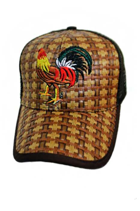 Rooster Embroidered Chara Mexican Straw Baseball Hat 9db6c0ba611
