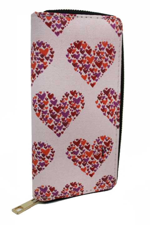 Ultimate Heart Doodled Fashion Printed Zipper Wallets