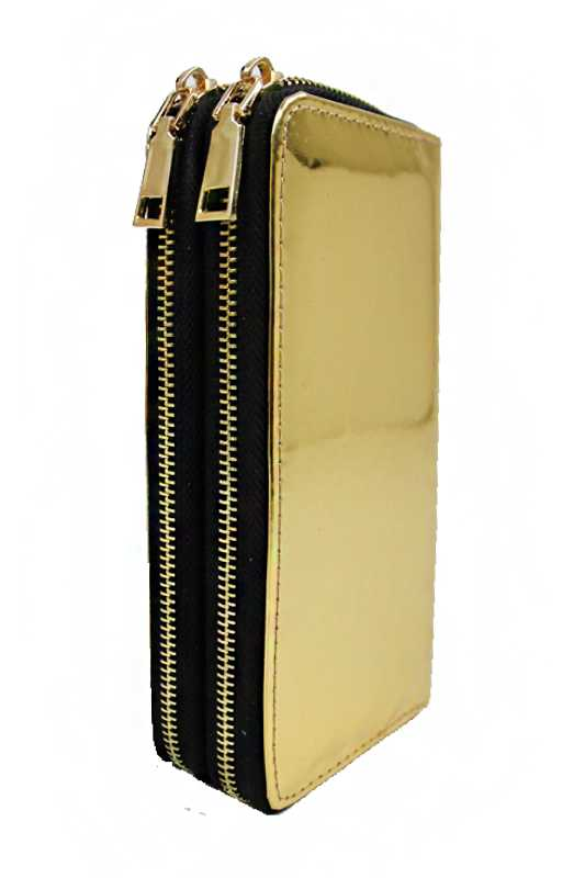 Metallic Textured Fashion Wallet Double Full Zipper closure