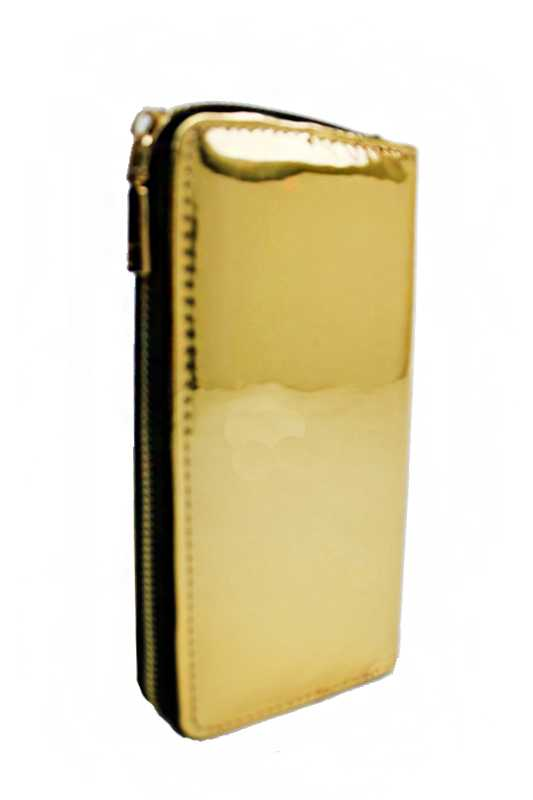 Metallic Textured Fashion Wallet with Golden Zipper Closure