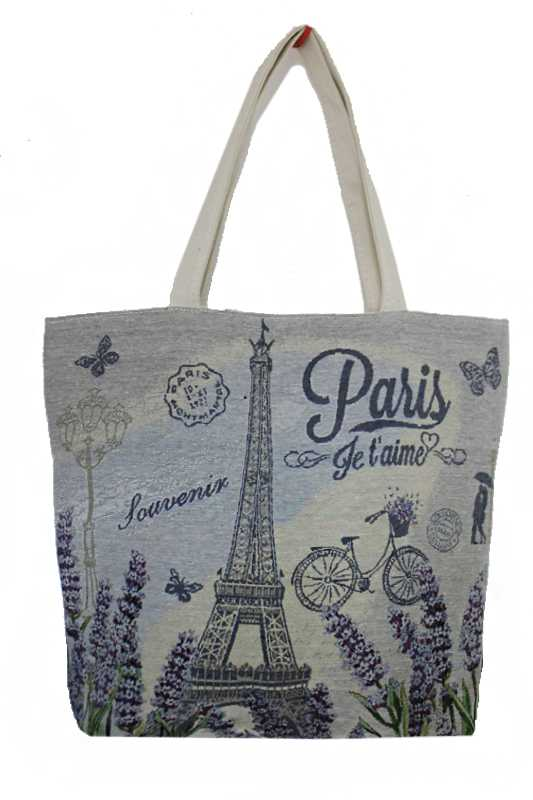 Classic Eiffel Tower Scenic Printed Floral Canvas Tote Bags