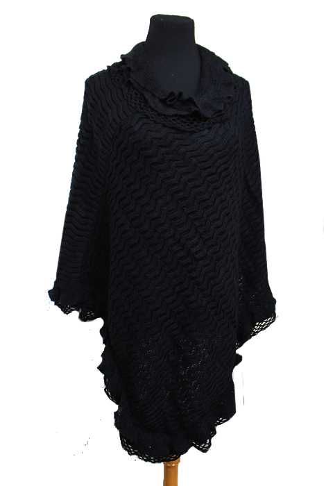 Double Layered Cowl Neck Missoni Pattern Knit Design Poncho Super Soft
