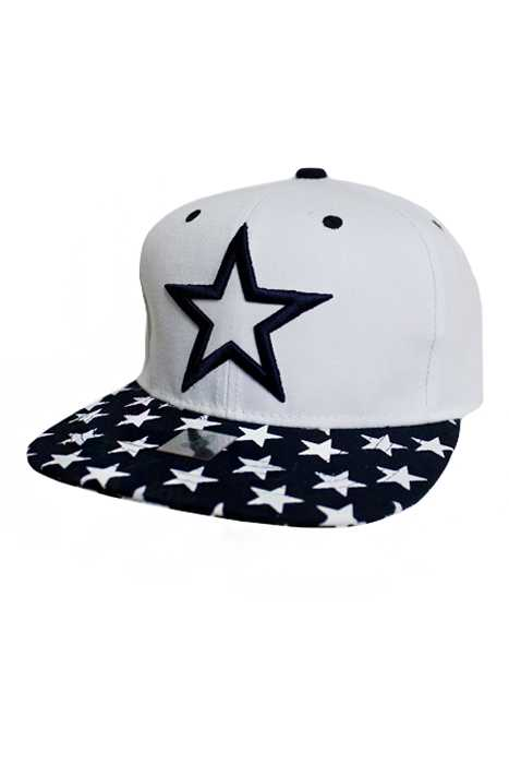 Center Star Tiny Stars Bill Embroidered Snap Back design Cap
